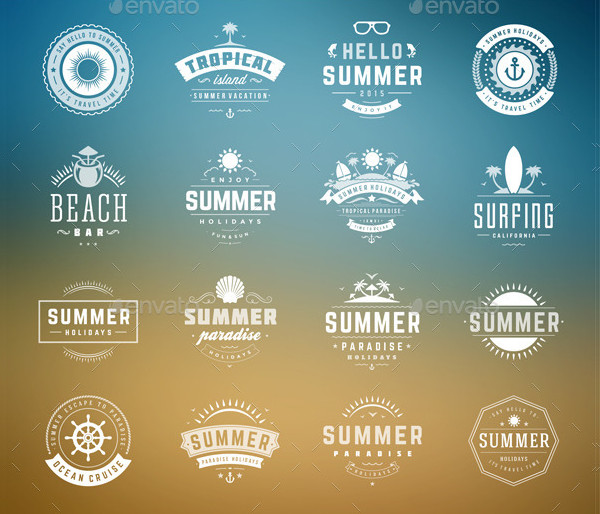 16 Summer Holiday Badges in Typographic Design