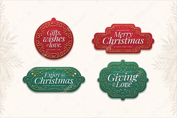 Flat Design Christmas Label Collection Free