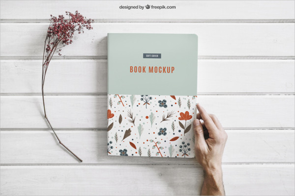 Free Book Mock-up with Flower Download