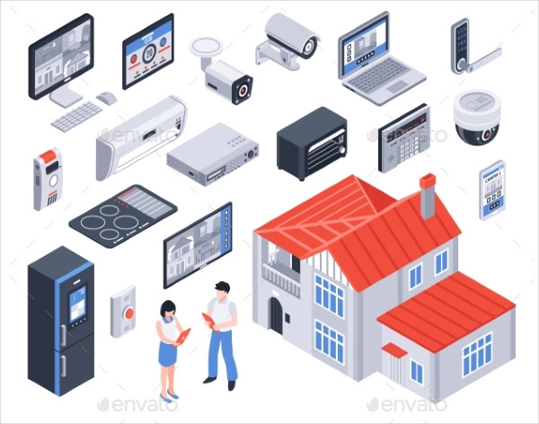 Isometric Smart Home Icon Set