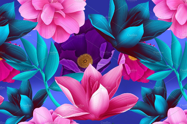 Tropical Flowers & Leaves Background