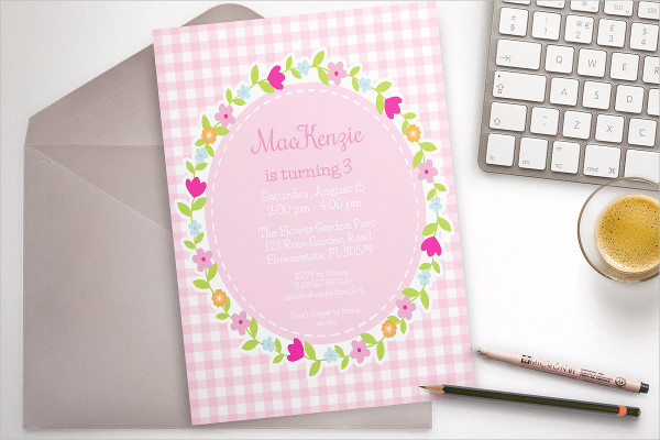 Pink Flower Party Invitation Template