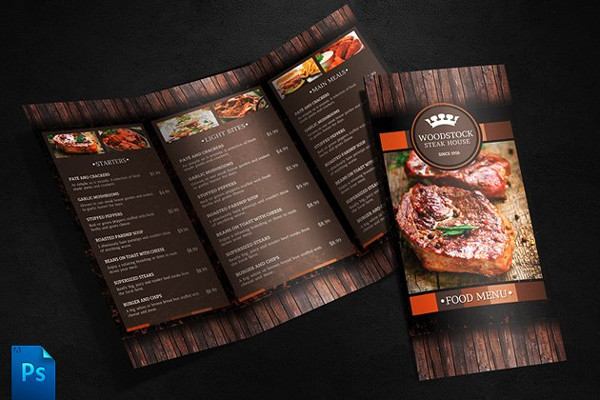 Print Ready Food Tri-Fold Menu Template