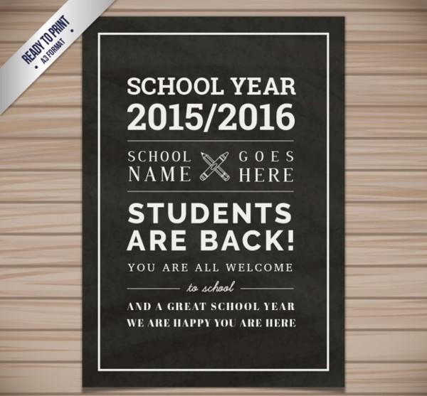 School Flyer in Blackboard Style Free Vector