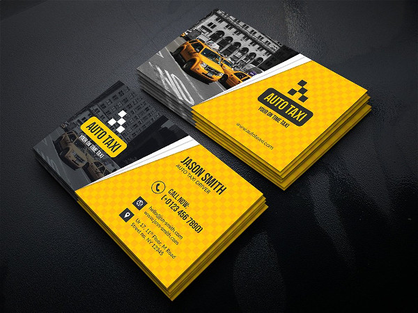 Simple Auto Taxi Business Cards