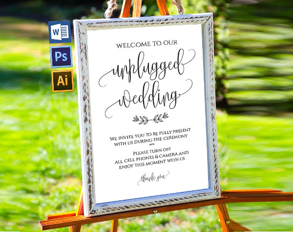 Unplugged Wedding Sign Template
