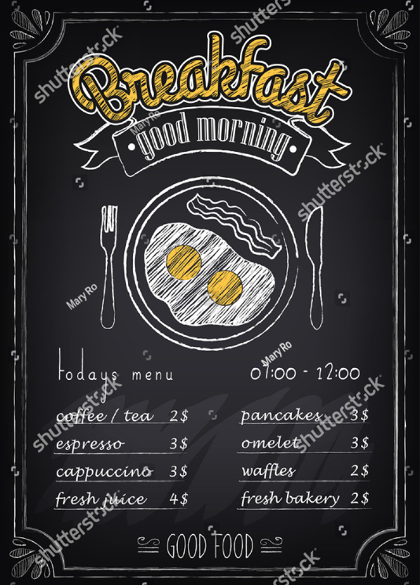Vintage Breakfast Poster or Menu Vector Design