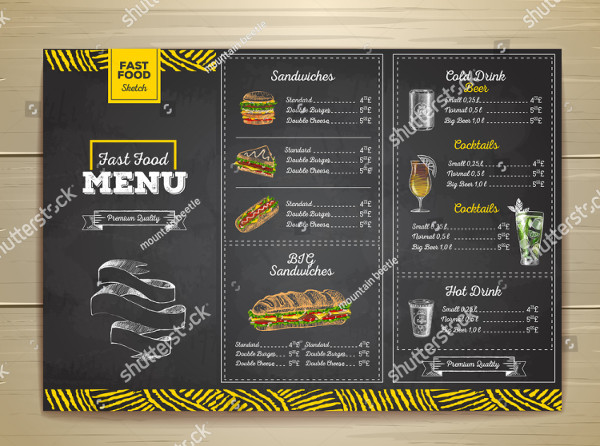 Vintage Chalk Drawing Fast Food Menu
