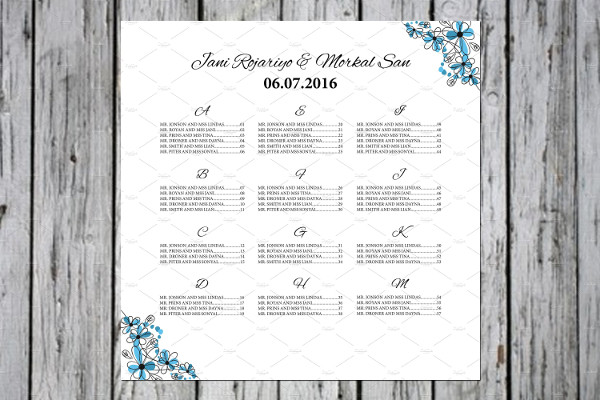 Wedding Seating Chart Poster Templates