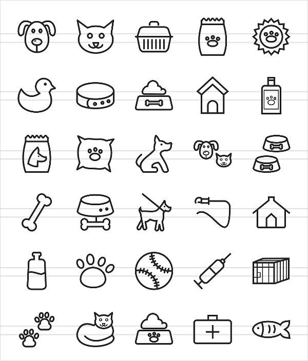 50 Pet Shop Line Icon Collection