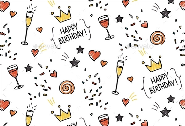 Seamless Doodle Pattern for Birthday
