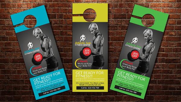 Body Fitness Gym Door Hanger Mockup