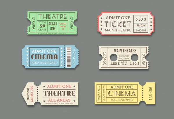 Cinema Theatre Ticket Templates Set Free Vector