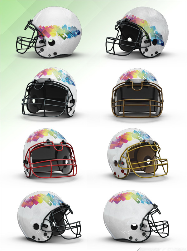 Customizable Football Helmet Mockups PSD