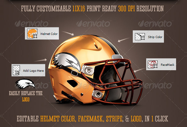 Editable Football Helmet Mock-Up