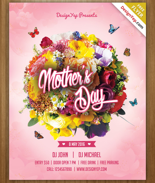 Happy Mothers Day Free Flyer PSD Template