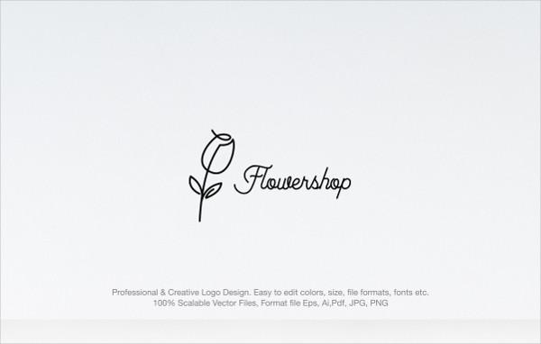Minimal Flower Shop Logo Template