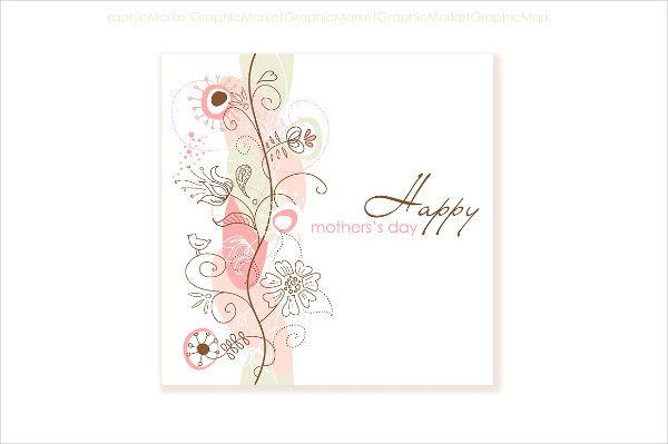 Printable Floral Hand Drawn Mother's Day Card