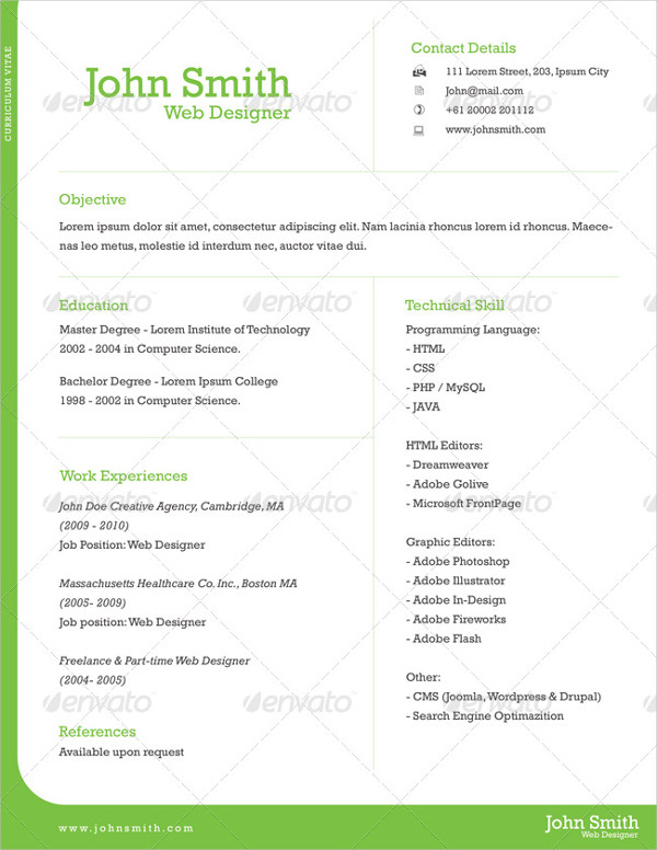 Professional Sample One Page Resume