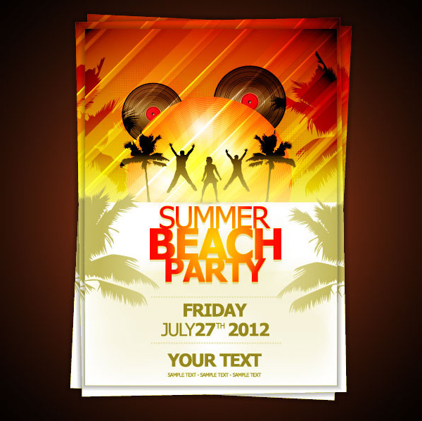 Free Set Of Beach Party Flyers Vector