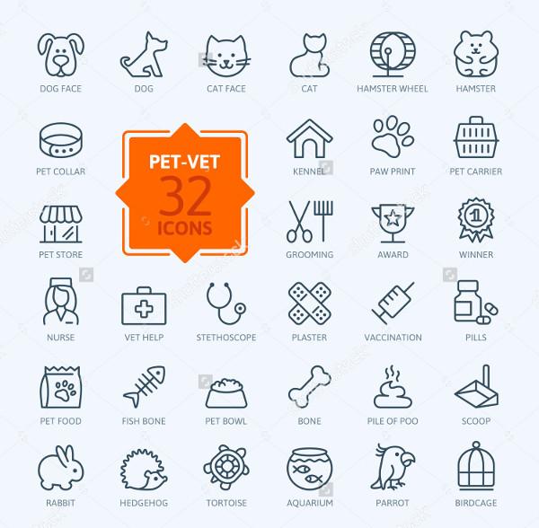 32 Thinline Web Icon Set of Pet