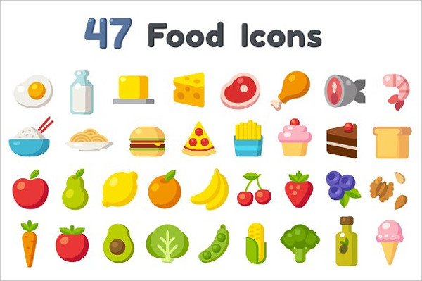 47 Delicious Flat Cartoon Food Icon Set