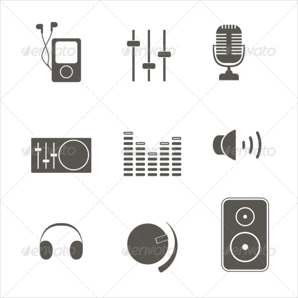 Abstract Music Equipment Icon Set