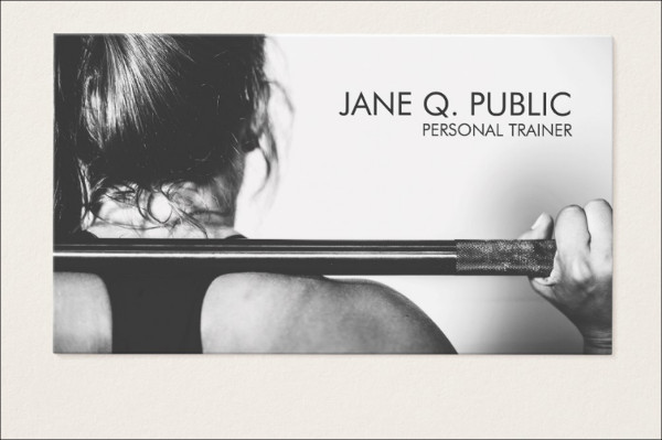 Black & White Fitness Trainer Business Card
