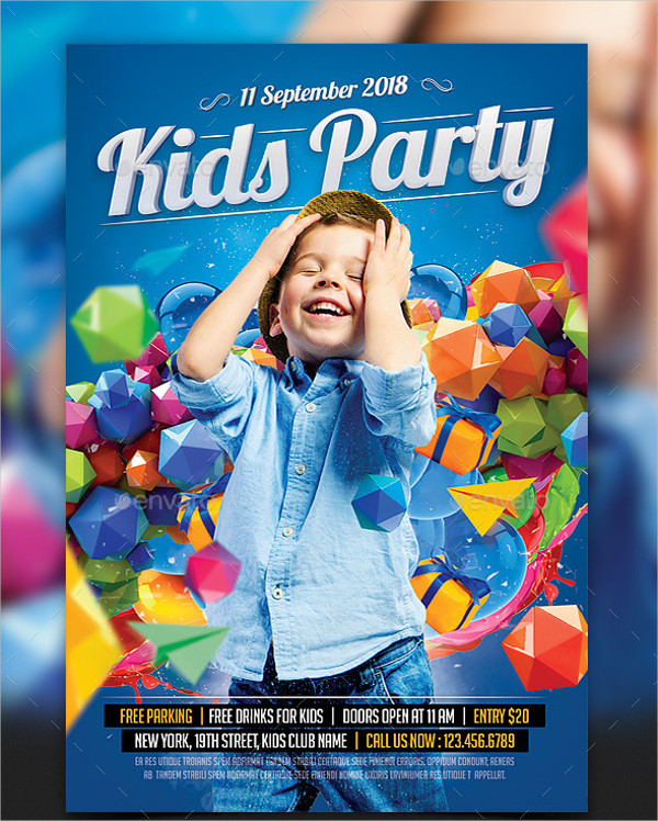 Colorful Kids Birthday Party Flyer Design