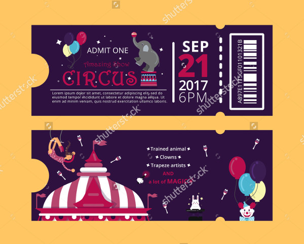 Circus Show Ticket Horizontal Invitation