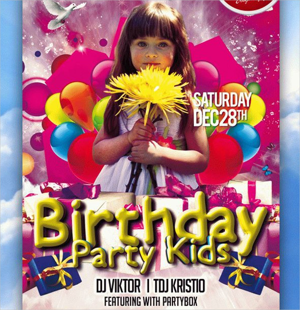 Free Kids Birthday Club & Party Flyer