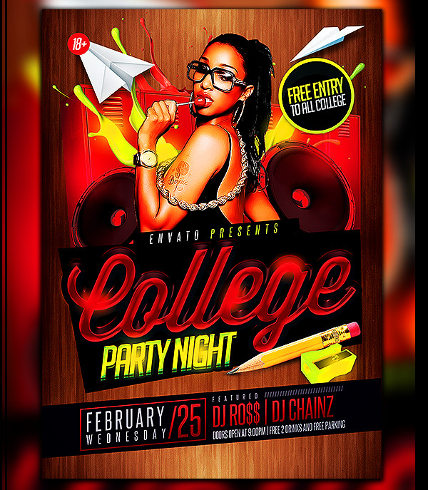 Creative College Party Night Flyer