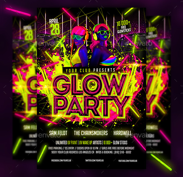 Awesome Glow Party Flyer