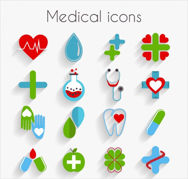 Cute Medical Icon Set In Flat Design