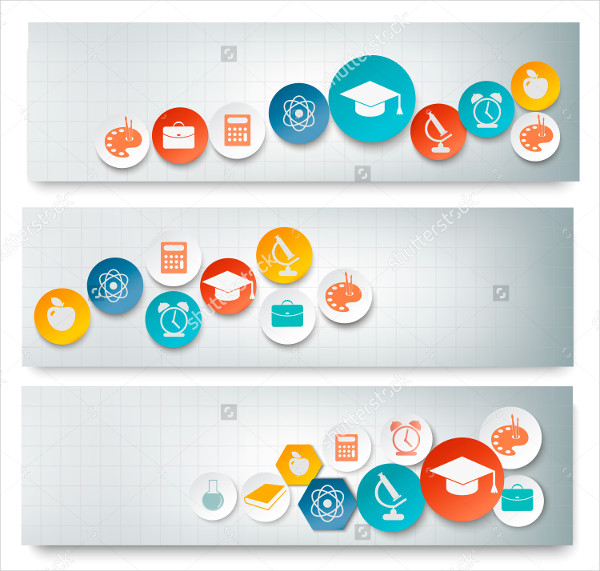 Education Banner Design Set with Icons