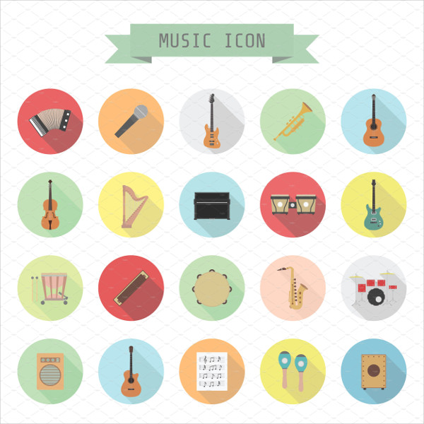66 Music Icon Set In Flat Style