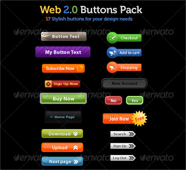 17 Glossy Web Button Pack