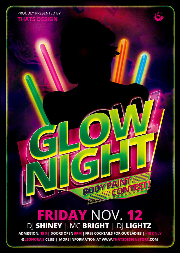 Free Download Glow Night Party Flyer Template