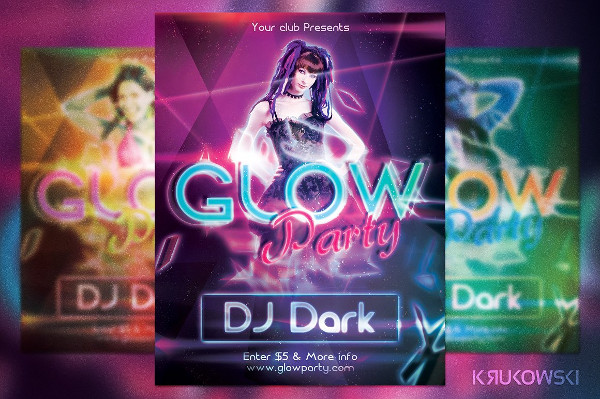 Creative Glow Party Flyer Templates
