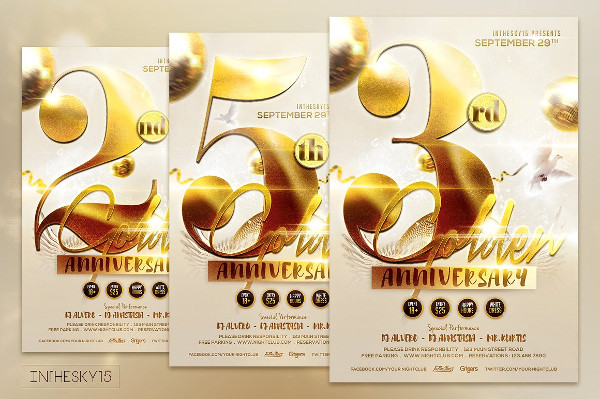 Golden Anniversary Promotion Flyer Templates