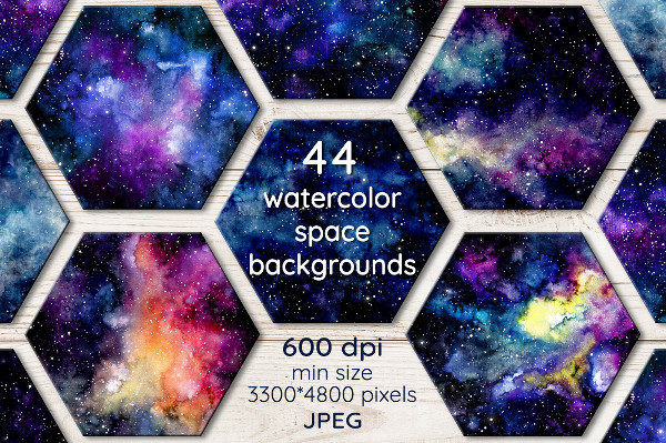 Hand Painted Watercolor Space Backgrounds