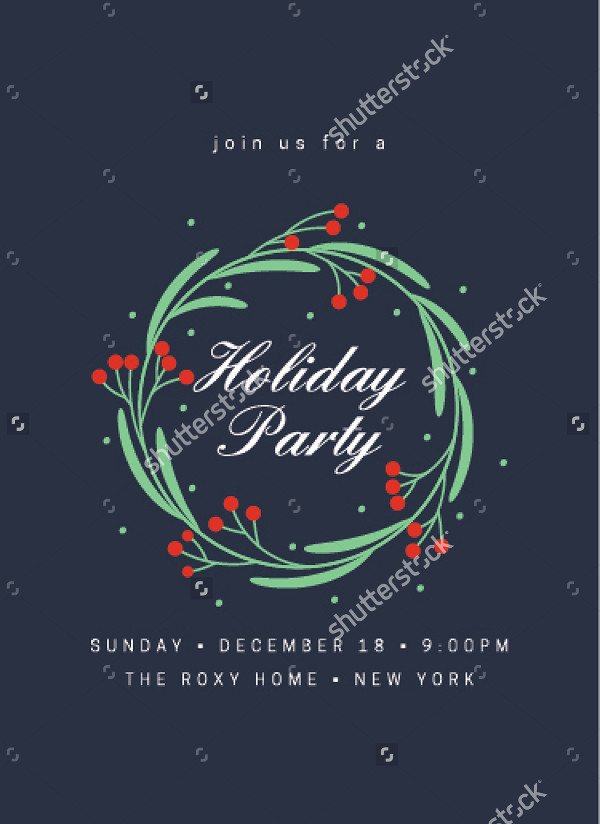 Floral Holiday Party Invitation Template