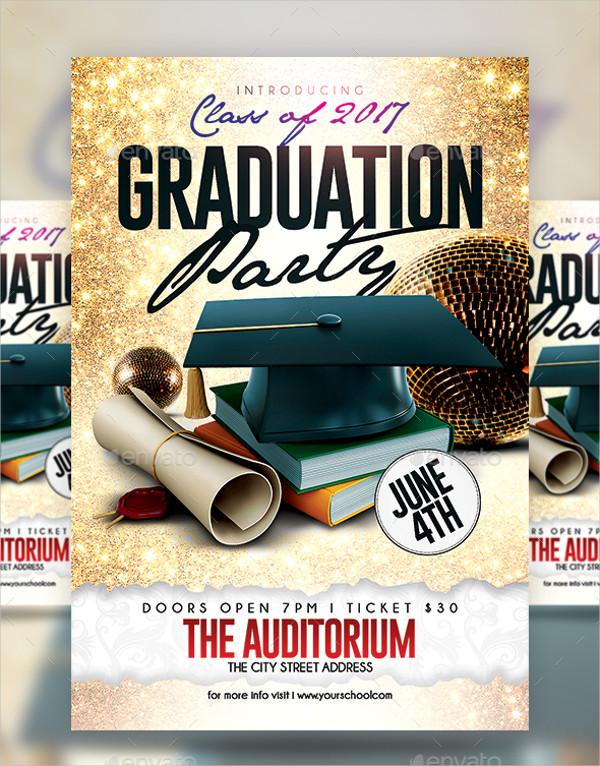 Modern Graduation Party Flyer Template