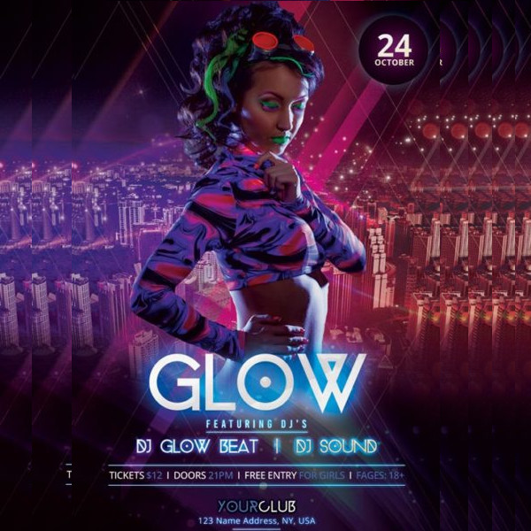 Neon Glow Party Free PSD Flyer Template