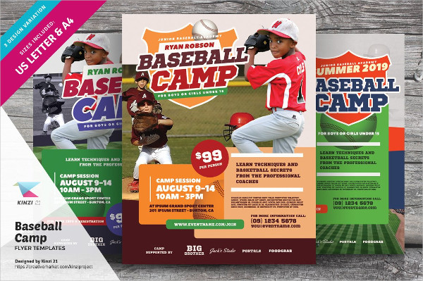PSD Baseball Camp Flyer Templates