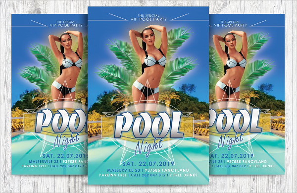 Pool Night Party Flyer