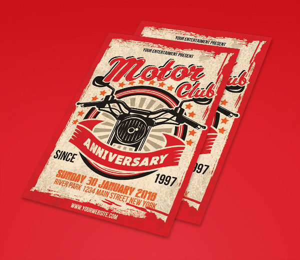 Poster for Motor Club Anniversary Event