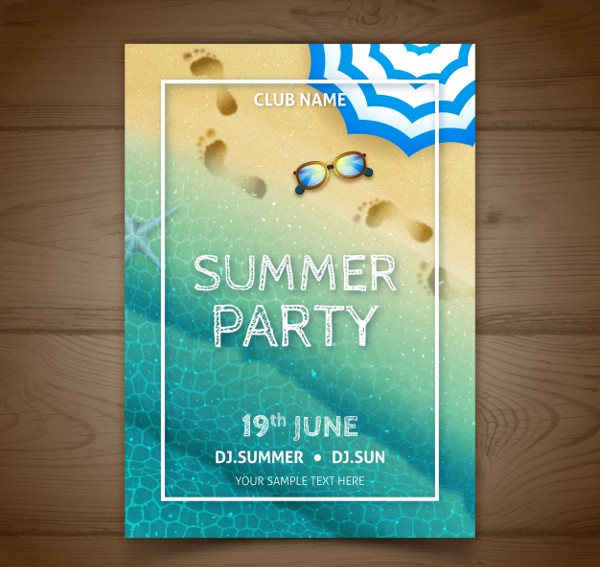 Realistic Summer Poster Free Vector