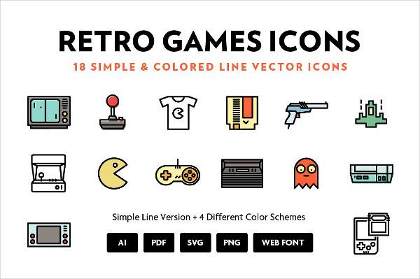 Retro Games Line Icon Set Vector