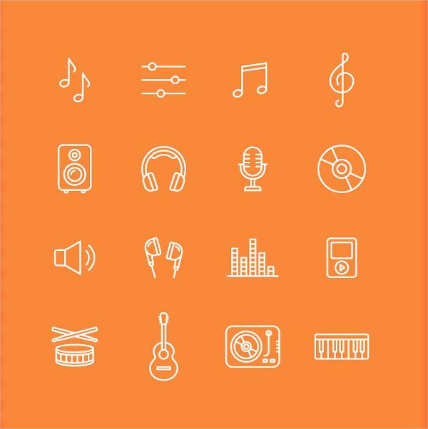 16 Stylish Musical and Sound Icons Set